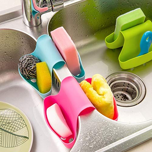 MOVEmen Home Kitchen Tools, Storage Box Sponge Holder Rack Tool Double Sink Caddy Saddle Style Kitchen Organizer Storage Shelf Kitchen Sink Drain Tool Wall Paste Bathroom Shelf (Blue) ()