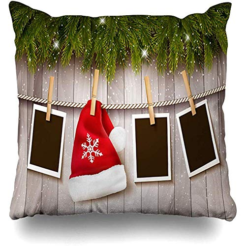 Throw Pillows Covers Cushion Case Border Red Wood Christmas Santa Hat Holidays Holiday Blank Branch Celebration Design Home Decor Pillowcase Square 18 x 18 Inches