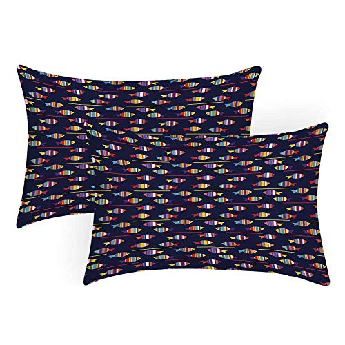 Lr Sham - TecBillion Fish Comfortable Pillow Covers,Rainbow Patterned Aquatic Creatures Silhouettes and Stripes Marine Fauna Aquarium for Bedroom Living Room,King(36
