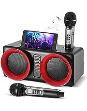 Kacsoo Głośnik do karaoke Bluetooth, mobilny system karaoke, z 2 bezprzewodowymi mikrofonami, system karaoke, przenośny na uroczystości rodzinne, wesela, pikniki
