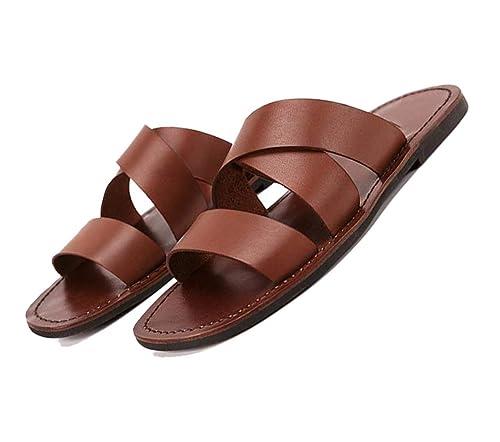 Marrone Sandali Estivi Da Scuro Uomo E Pantofole Scarpe Ybf76gy
