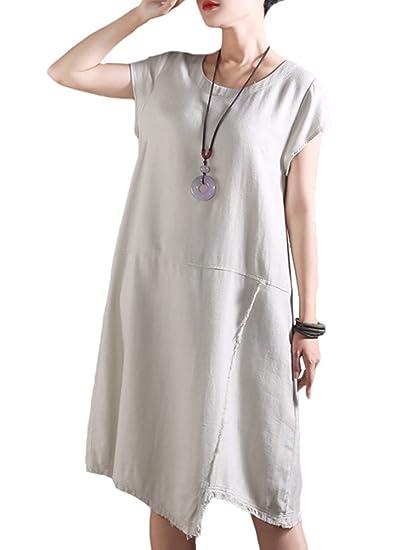 88305faa467 Mallimoda Women s Casual Plain Linen Shift Dress Short Sleeve Loose  T-Shirts  Amazon.co.uk  Clothing
