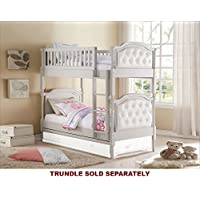 ACME Furniture 37690 Pearlie Twin over Twin Bunk Bed, Twin/Twin, Gray & Pearl White PU