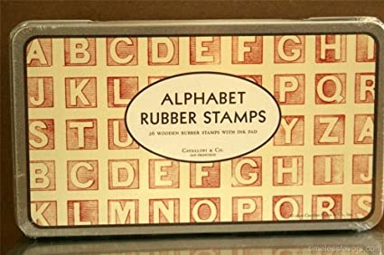 Alphabet Rubber Stamp Set 26 Block Letters Tin