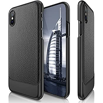 iPhone X Case, LOHASIC Ultra Slim Premium Leather Luxury Textured Back Thin Sleek Hard PC Cover Lightweight Soft Touch Perfect Fit Non-Slip Grip Protective Cases for Apple iPhone X iPhone 10 - Black