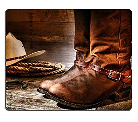 Liili Mouse Pad Natural Rubber Mousepad IMAGE ID: 15544316 American West rodeo cowboy pair of traditional leather roper style western riding boots with authentic ranching spurs with hat and rope on (Boot Rodeo Style)