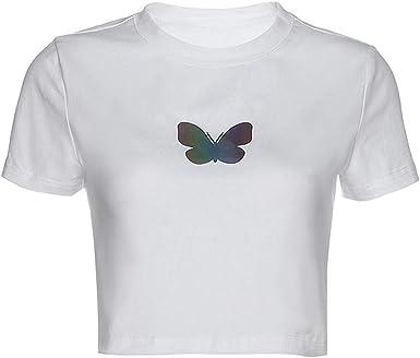 Camiseta con Cuello Redondo En Relieve De Mariposa Reflectante, Camiseta Blanca Corta, Top Suave Y Cómodo, Blanco, M: Amazon.es: Ropa y accesorios