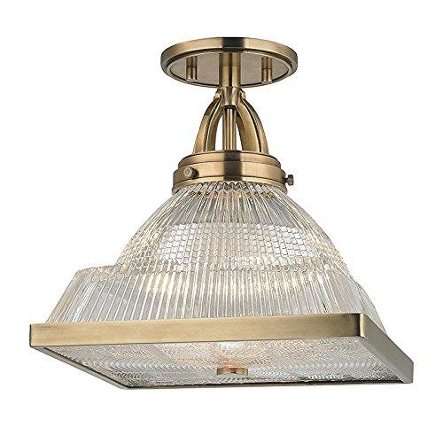 Harriman 1-Light Semi Flush - Aged Brass Finish with Clear Glass Shade