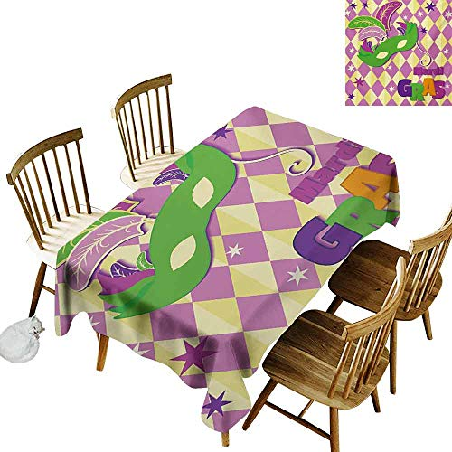 Mardi Gras Stain-Resistant Tablecloth Checkered Pattern with Stars Graphic Mask Harlequin Festival Composition Easy to Clean W54 x L90 Pink Yellow Green ()