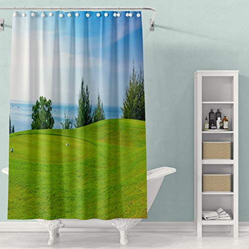 Crannel Art Shower Curtain, Shower Curtain for Bathroom Eco-Friendly Shower Curtains Wellgroomed Field Lawn Green Grass Playing Golf 78X72Inches Waterproof Decoration Shower Curtain