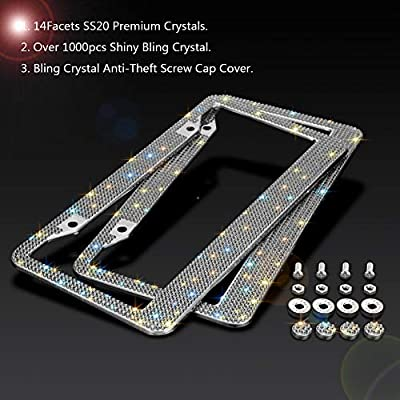 SAVORI Crystal License Plate Frame Luxury Handcrafted Bling Rhinestone Car License Plate Frames with 4 Anti - Theft Screw Caps Glitter Car Accessories for Women (Grey): Automotive