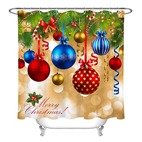 LB Christmas Balls Shower Curtain Set Cedar Bell Ribbon Bathroom Curtain with Hooks Holiday Decorations 72x72 inch Waterproof Polyester Fabric Bathtub Curtain -
