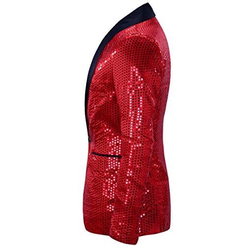 Pantalon Élégant Homme Pièce Cérémonie Allthemen Rouge Blazer Paillettes Costume 2 De xBTnq8Zw