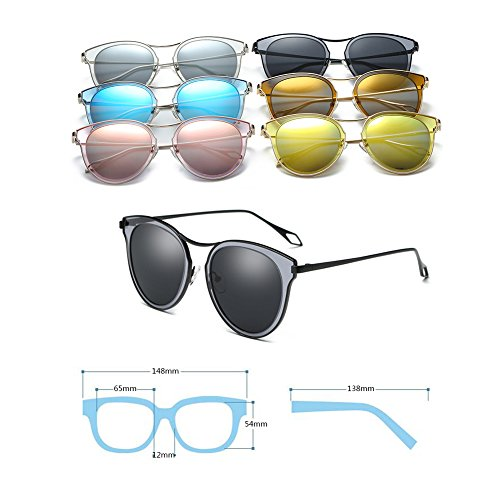 De Frame Huicai Soleil Lunettes Mirrored Fashion Polarized Uv Metal C3 Oversize Lens ZZCqpw