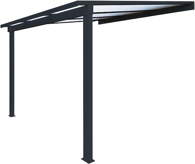 Pérgola de aluminio clásica para fijar al techo, de policarbonato (16 mm) con canaleta, color gris, color Gris ral 7016, tamaño 3000 x 3000 mm