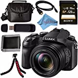 Panasonic Lumix DMC-FZ2500 Digital Camera + Sony 128GB SDXC Card + Carrying Case + Flexible Tripod + Micro HDMI Cable + Memory Card Wallet + Card Reader + Fibercloth Bundle
