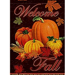 Dyrenson Home Decorative Outdoor Happy Fall Yall Quote Garden Flag Double Sided, Autumn House Yard Flag, Rustic Harvest Pumpkin Yard Decorations, Maple Leaf Corn Vintage Seasonal Outdoor Flag 12 x 18