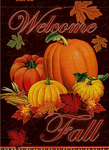 Dyrenson Happy Fall Yall Quote Garden Flag Double Sided, Home Decorative Autumn House Yard Flag, Rustic Harvest Pumpkin Yard Decorations, Maple Leaf Corn Vintage Seasonal Outdoor Flag 12 x 18.