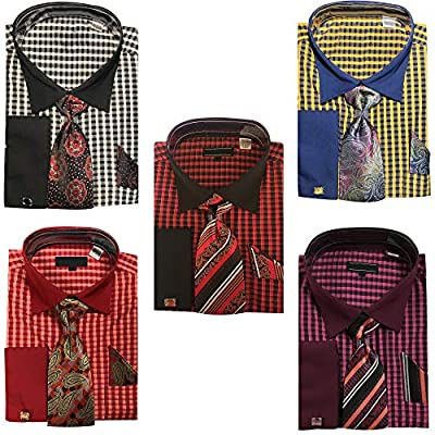 Sunrise Outlet Men's Plaid Dress Shirt with Tie Handkerchief and Cufflinks