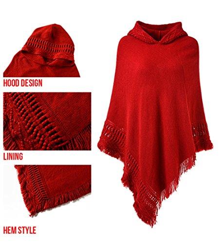 Ferand Rosso Mantellina Frange Cappuccio Elegant Per Con Donna Incavato Poncho BOywFqB7