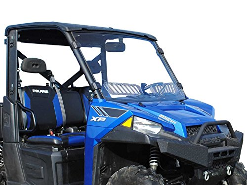 (SuperATV Heavy Duty Scratch Resistant Vented Full Windshield for Polaris Ranger Fullsize XP 570/900 / 900/1000 / 1000 Diesel/Crew (SEE FITMENT FOR COMPATIBLE YEARS) - Easy to Install!)