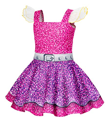 AmzBarley Girls Dress Fancy Party Princess Cosplay Role Play Lace Sleeveless Dress up Halloween Costume Age 3-4 Years Size 4T -