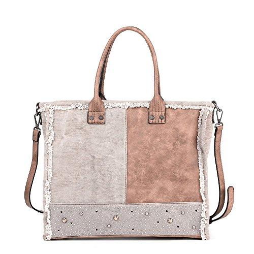 Women Canvas Mix PU Leather Top Handle Handbags Totes Bags Shoulder Bag Cross Body Bag Satchel By Vanillachocolate … (Gray)