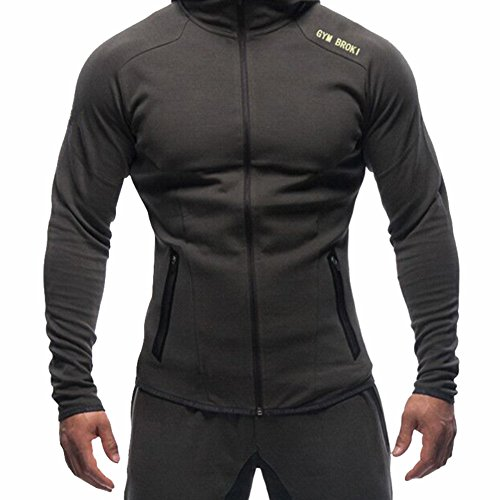 BROKIG Men's Gym Zipper Hoodie, Active Muscle Slim Fit Hoody Hooded Sweatshirts with Two Zip Pockets (Medium=(Tag L), Dark Gray)