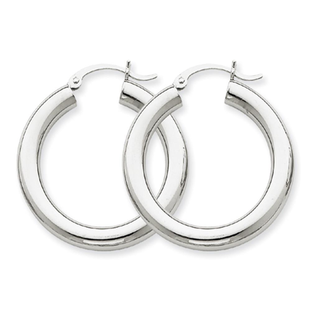 10K White Gold Polished Round Tubular Hinged Hoop Earrings 4mm x 20mm