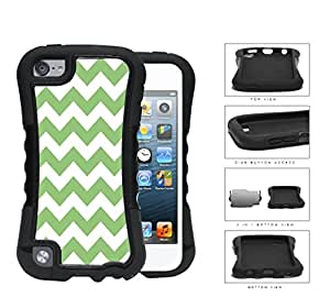 Chevron Design Pattern In Mint Green 2-Piece Dual Layer High Impact Rubber Silicone Case Cover Apple iPod Touch 5th Generation