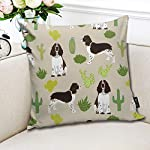 Brecoy English Springer Spaniel Dog Fabric Cactus Dog Design English Springer Spaniel Dogs Design Cactus Cushions Case for Sofa Home Decorative Pillowcase Gift Ideas Zippered Pillow Covers 18X18Inch 6