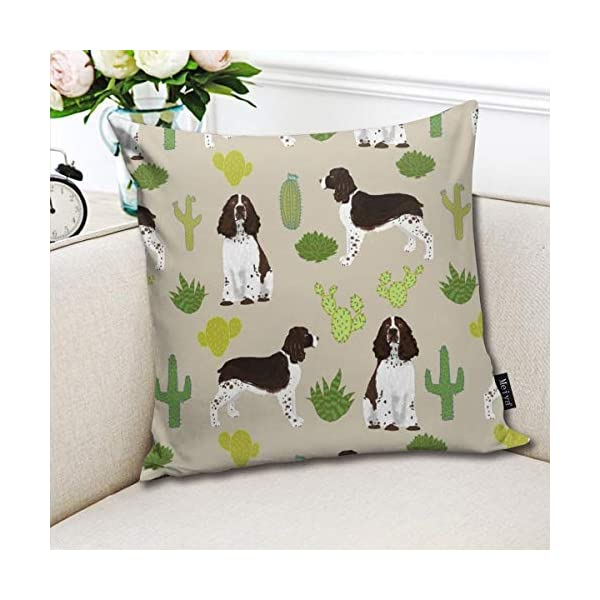Brecoy English Springer Spaniel Dog Fabric Cactus Dog Design English Springer Spaniel Dogs Design Cactus Cushions Case for Sofa Home Decorative Pillowcase Gift Ideas Zippered Pillow Covers 18X18Inch 3