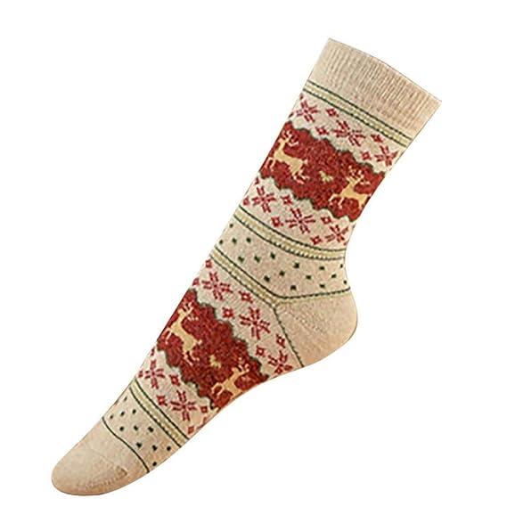 Navidad Calcetines Mujer Termicos Algodon 2pc Vintage lindo Elks Snowflakes Calcetines para Mujer Pila de Calcetines Medias Calcetines Holatee: Amazon.es: ...