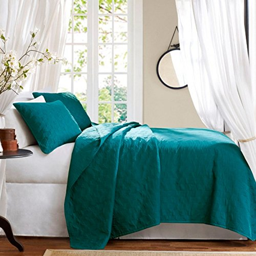 Teal Rhombus Quilted Suede-Like Touch King Size Coverlet Quilt Set, 3 Pieces