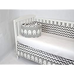 ROCKINGHAM ROAD,CRIB BEDDING SET FOR BABY GIRL BABY BOY,GENDER NEUTRAL(BUMPER AND CRIB SKIRT),GREY CHEVRON, ELEPHANTS (BEST SELLER)UNISEX,MADE IN THE USA. THE GORGEOUS GREY NURSERY
