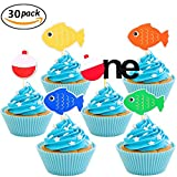 JeVenis Fishing Bobber Cupcake Toppers The Big One Kids Little fisherman Cake Topper Fishing Cake Topper Supplies 30 pcs