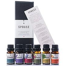 SPRUSE Canadian 100% Natural Essential Oils Set of 6 - Mandarin, Rosemary, Lemongrass, Eucalyptus, Peppermint, Lavender