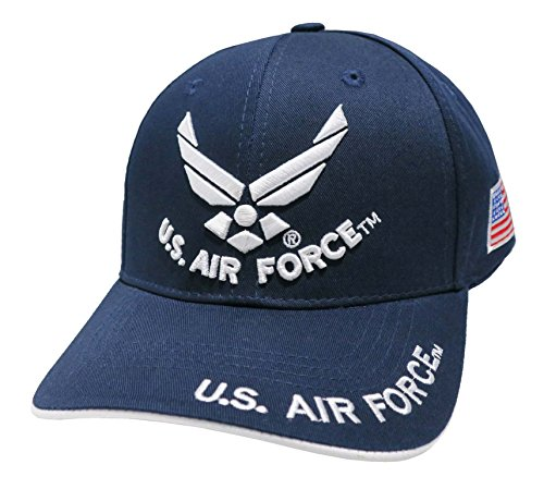 Air Force Cap (US Armed Forces Embroidered Military Baseball Cap Hat (Navy Blue US Air Force Wing/Text))