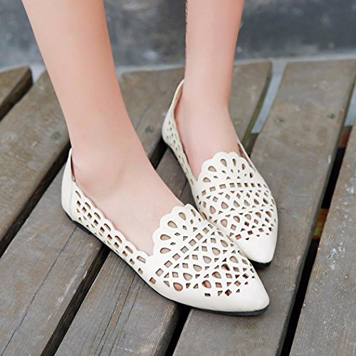 Women Solid Summer Toe Hollow Fashion Out Square Women Flat Heel Shoes Beige Sandals Sandals Flat Flat dwXXqfU