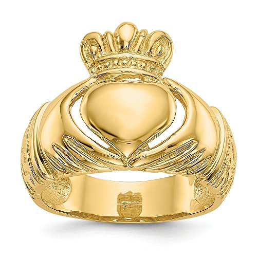 14k Yellow Gold Domed Claddagh Ring Size 8.5