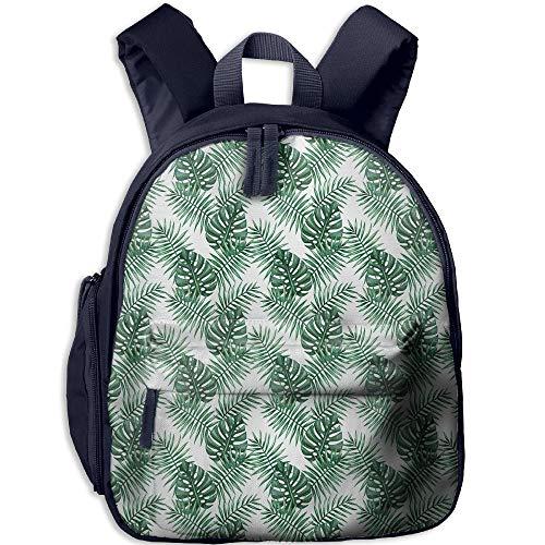 (Haixia Kid's Boys&Girls Backpack with Pocket Leaf Palm Mango Banana Tree Leaves in Tropical Wild Safari Island Jungle Image Artwork Decorative Forest Green)