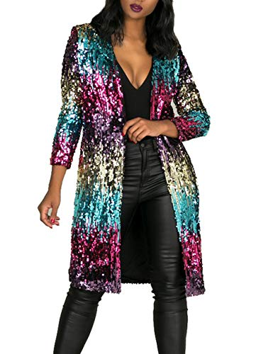 Lucuna Women's Sequins Open Front Long Sleeve Club Cardigan for Evening Prom from Lucuna