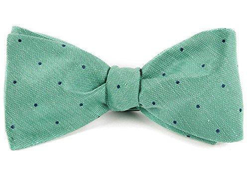 The Tie Bar 20% Linen/80% Silk Bulletin Dot Mint Self-Tie Bow Tie
