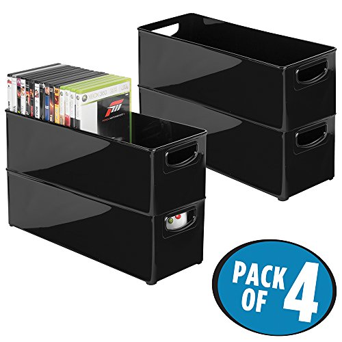 mDesign Household Storage Bin for DVDs, PS4 and Xbox Video Games - Pack of 4, Large, Black (Plastic Video)