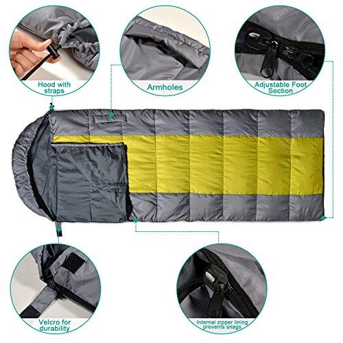 Odoland Warm weather Waterproof Envelope Sleeping Bag with ...