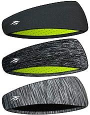 Zollen Headbands for Men & Women - Mens Headband 3 Packs Guys Sweatband & Sports Headband for Running, Fitness, Yoga, Workout, Gym - Performance Stretch & Moisture Wicking