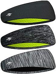 Zollen Headbands for Men & Women - Mens Headband 3 Packs Guys Sweatband & Sports Headband for Running,