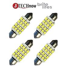 "Jtech 4x 42mm(1.72"") 16-SMD DC 12V Super Bright White LED Bulb 211, 212, 211-2, 212-2, 214-2, 560, 569, 578, 6413, 6429 etc."