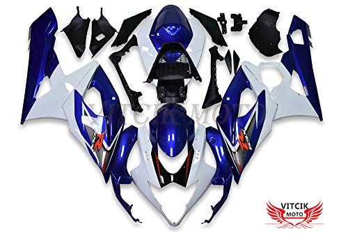 VITCIK (Fairing Kits Fit for Suzuki GSXR1000 K5 2005 2006 GSXR 1000 GSX R1000 K5 05 06 Plastic ABS Injection Mold Complete Motorcycle Body Aftermarket Bodywork Frame (Blue & White) A101
