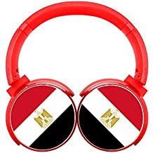 6Dian Egypt Flag Headphones Over-ear Stereo Fold Wireless Bluetooth Earphone Red